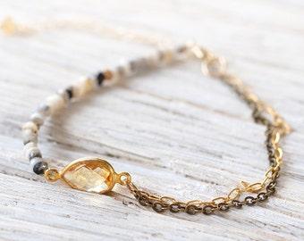 Opal and Citrine Bracelet - Dendritic Opal Bracelet - October / November Birthstone - Citrine Jewelry - Gift for Her - Yellow Stone Bracelet
