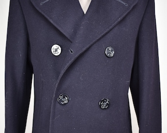 U.S. Navy Solid Black 100% Wool Double Breasted Peacoat Men's Size: 36