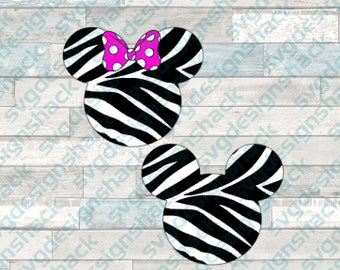 Zebra Minnie and Mickey Mouse Heads SVG, DXF, EPS, Studio 3, Png