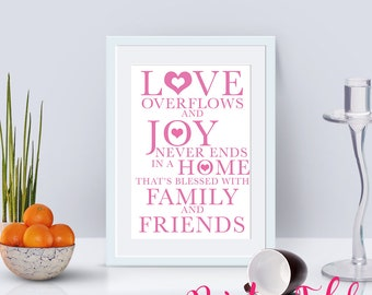 Love Overflows Typography Poster - Instant Download