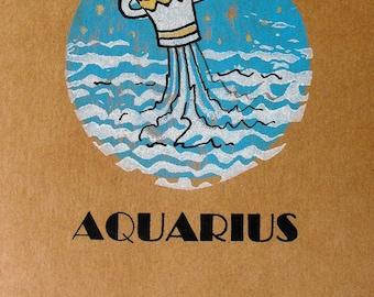 Original handmade greeting card, block print Zodiac birthday card, blank card, art card, dates and traits, linocut block print, AQUARIUS