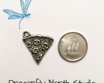 Pizza slice charm - pizza charm - pepperoni pizza slice charm - antiqued silver tone charm