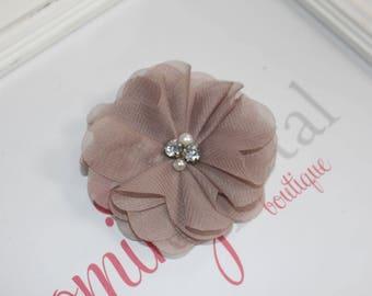Taupe Chiffon Rhinestone/Pearl Flower Clip