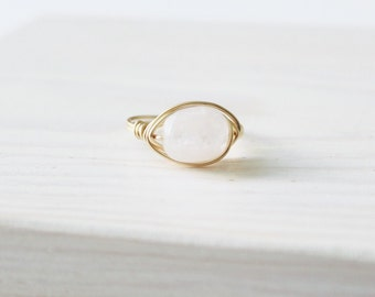 Pink Quartz Gemstone Wire Wrapped Ring | Unique Ring | Amazonite Stone
