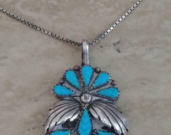 Amazing Carved Sleeping Beauty Turquoise Pendant Necklace Signed ST