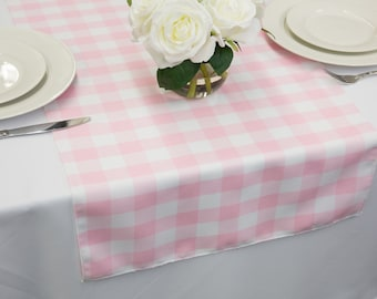 Pink and White Gingham Table Runner | Wedding Table Runners