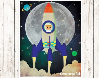 Retro Rocket Spaceship Art Print Rocket wall art decor decor boys room wall art boys room print boys wall art boys room decor Gift for kids