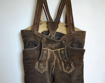 Vintage HANDMADE LEATHER PANTS ,  men's Tyrol pattern suede leather pants ..........(006)
