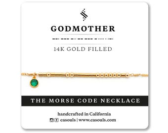 Godmother Birthstone Morse Code Necklace/Bracelet | Godmother Jewelry, Godmother Bracelt, Godmother, Necklace