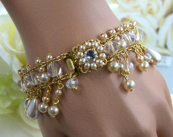 Bridal Crystal Bracelet, Vintage Style Bracelet, Victorian Jewelry, Pearl Bridal Jewelry, 1920s Statment Jewelry