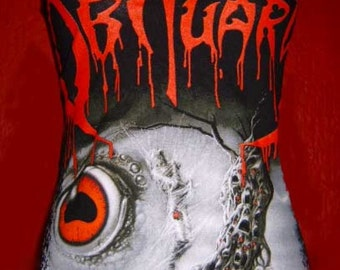 OBITUARY band diy halter top Cause Of Death death metal reconstructed altered shirt  xs s m l xl