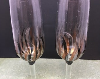 Champagne Stemware Glasses Hand Painted Black Silver Gold Bronze Barware Bar Decor Drinkware Kitchen Decor Country Decor Gift One of a Kind