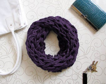 Purple Chunky Knit Infinity Scarf, Cowl