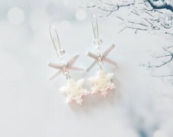 earrings snowflake  polymer clay