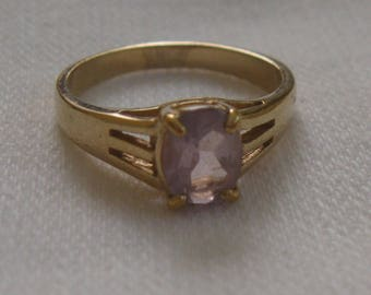 amethyst gold ring . amethyst ring . 50s amethyst ring . gold over sterling ring