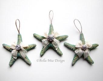 Starfish Ornaments, Set of 3, Beach Wedding Decorations