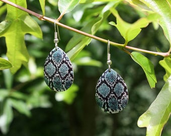 Diamondback Snakeskin Earrings - Turquoise Black Silver Snakeskin Pattern Earrings - Dangle Earrings - Snake Earrings - Two Feathers Jewelry