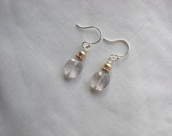 Faceted Pink Crystal Quartz and Freshwater Pearl Earrings on Sterling Silver