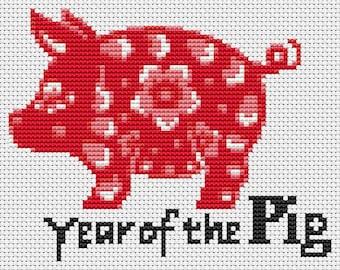 Pig Cross Stitch Chart, Year of the Pig Cross Stitch Pattern PDF, Asian Cross Stitch, Chinese Zodiac Cross Stitch, Art Cross Stitch