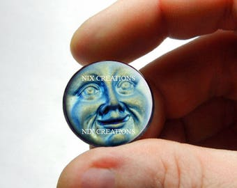 Iridescent Moon Face Glass Cabochon  - for Jewelry and Pendant Making