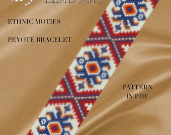Pattern, peyote bracelet - Ethnic motifs peyote bracelet cuff PDF pattern instant download
