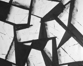 """A3 Contemporary Modern Abstract Black & White Hand Painted Ink Painting 11.7x16.5 """" Untitled 1831 """""""