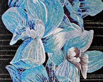 Flower Mosaic Art - Blue Magnolia
