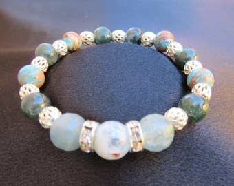 Calming Centering and Focusing Aquamarine Gemstone Bracelet with Lapis and Blue Agate