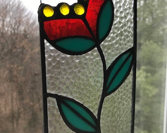 Stained Glass Abstract Red Poppy Flower
