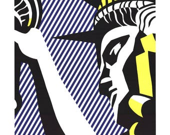 ROY LICHTENSTEIN - 'I love liberty' - rare original limited edition poster - c1982 - large (Pop art) ed