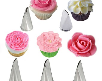 5 Pcs/Set Icing Piping Nozzles Rose Petal Cake Decorating Tips Russian Baking Stainless Steel Icing Piping Nozzles