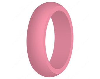 Pink Women's Silicone Wedding Band Engagement Ring Hypoallergenic Flexible Cute Athletic Active Wear Ladies Jewelry FREE EXPEDITED SHIPPING