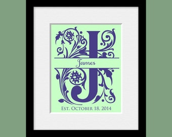 Classic Monogram Wedding Print, Calligraphy Initial Wall Art, Personalized Bridal Shower Gift, Name and Established Date Print