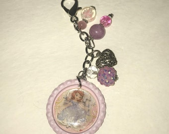Handmade Bottlecap clip-ons or keychains Pink and Purple Sofia the First Princess