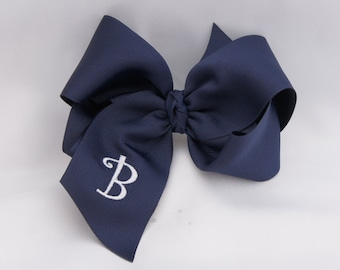Southern Size Monogrammed Navy Hair Bow