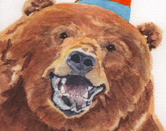 Birthday Bear Card.  Inside of card:  Happy Birthday  Have a  Rip - ROARIN' good time!