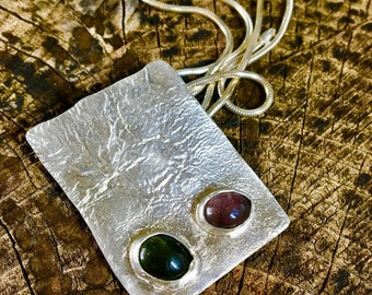 Reticulated Silver and Tourmaline Pendant