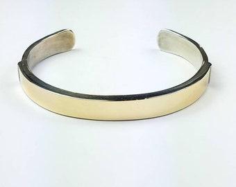 Native American Navajo handmade Sterling Silver 14k Gold cuff bracelet