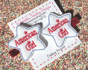 Hair clip American Girl Red White and Blue USA Star glitter hair clip 1 CLIP Patriotic toddler girls kids hair clips accessory accessories