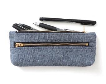 Denim Pencil Case Double Zipper Pencil Pouch