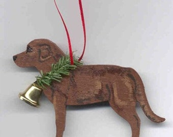 Hand-Painted LABRADOR RETRIEVER CHOCOLATE Wood Christmas Ornament Artist Original...choose pine or candy cane