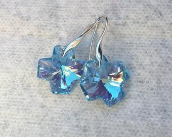 Swarovski crystal cross earrings (Aquamarine AB)