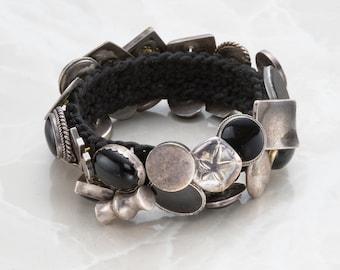 Black Onyx and Sterling Silver Button Bracelet
