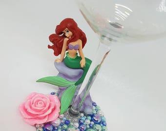 Personalised Disney Ariel Little Mermaid Wine Glass