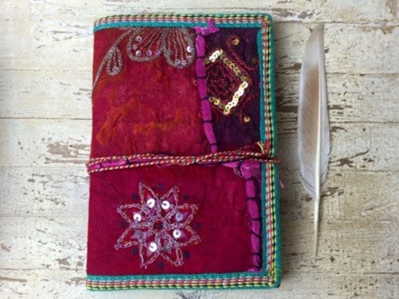 BOHO JOURNAL - Indian sari notebook - Rainbow notebook - Student - Back to school - Sketch book - Handmade paper - Natural paper