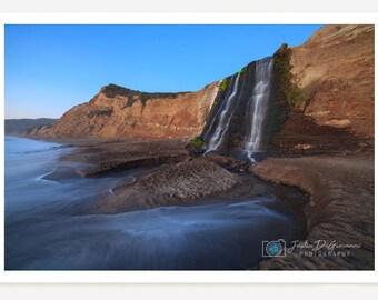 Alamere Falls // Nature Landscape Fine Art Photography - Coastal Waterfall // Tidefall // Nature Print // Ocean Wall Art