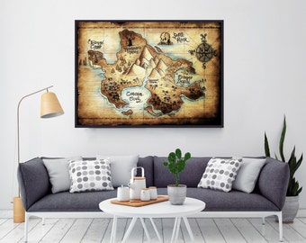 Neverland Map, Peter Pan, Baby Shower, Nursery Decor, Gift For Boyfriend, Nursery, Disney Nursery, Birthday Gift, Boy Nursery
