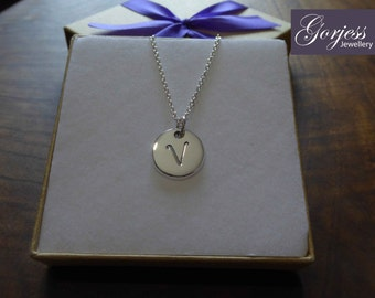 Letter V Initial Silver Pendant Necklace