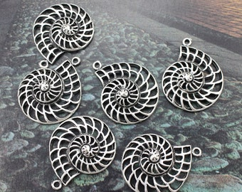 10 Spiral Shell Charms Nautilus Charms Antiqued Tibetan Silver 28 x 35 mm