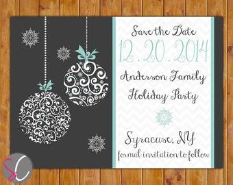 Christmas Holiday Party Save the Date Chevron Card Ornate Christmas Ornament Card Blue Gray Grey Card DIY Printable 5x7 Digital JPEG (352)